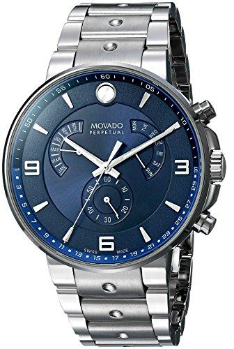Movado Men's 'SE Pilot' Swiss Quartz Stainless Steel Casual Watch, Color Silver-Toned (Model: 0607129)