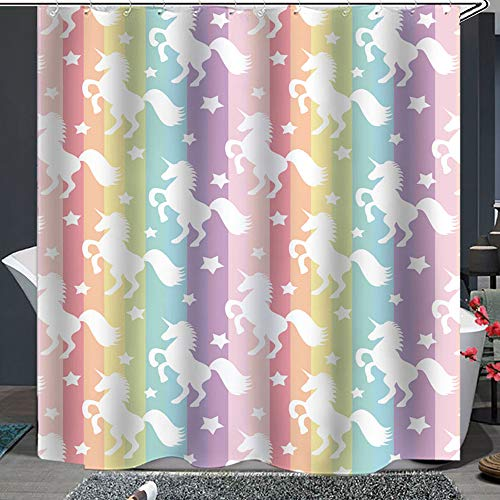 Shower Curtain Set with Hooks Soap Mildew Resistant Waterproof Cute Cartoon Unicorn Colorful Rainbow Stripes Bathroom Decor Machine Washable Antibacterial Polyester Fabric Bath Curtain 71 x 71 inches