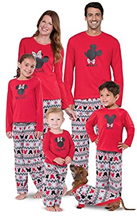 Mickey Mouse and Minnie Mouse Matching Family Pajamas, Red, Dog X-Small