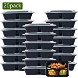 NutriBox [20 Value Pack] 20 OZ 3 compartment Meal Prep Plastic Food Storage Containers with lids - BPA Free Reusable Lunch Bento Box - Microwave, Dishwasher and Freezer Safe