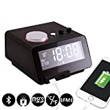 Homtime C12 USB Alarm Clock, FM Radio Clock, Bluetooth Handsfree Digital Alarm Clock, 4 Level Dimmable Large LCD Screen and Personalized Alarm Ring for Bedroom, Hotel, Table, Desk