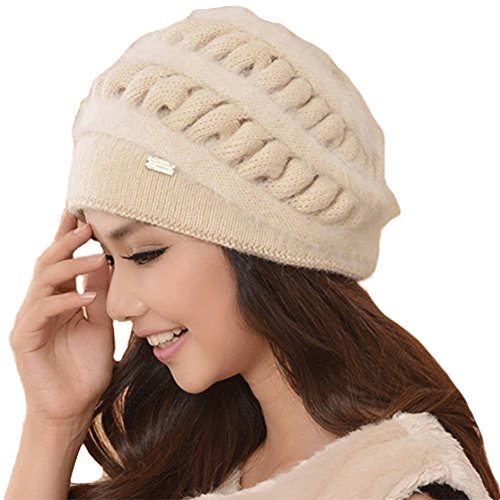 Queenshiny Women's Super Soft Angora Wool Classic Beanie Berets Cap Hat-Beige