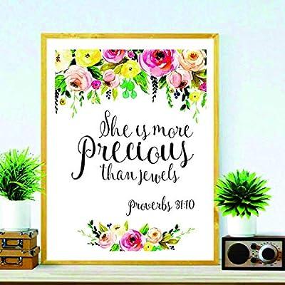 signatives She is More Precious Than Jewels - Baby Girl Nursery Wall Art - Girl Nursery Wall décor - Floral Housewarming Gift - Nursery Wall Art - Kids Wall décor - Nursery Decor: Home & Kitchen
