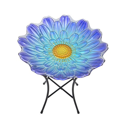 Peaktop 3204500 Garden Handpainted Flower Fusion Glass Birdbath With Metal Stand, 21.2