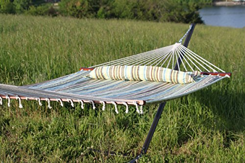 Coastal Striped 2 Person Hammock and Stand with Pillow - Quick Dry