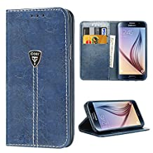Case S6 Wallet Premium iDoer Slim Magnetic Flip Leather Wallet with Wrist Strap for Samsung Galaxy S6 Blue