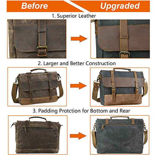 WOWBOX 15.6 Inch Messenger Bag for Mens Waxed Waterproof Canvas Genuine Leather Laptop Messenger Bags Men Business Briefcase Vintage Large Shoulder Bag School College Satchel (Gray) by Wowbox (Image #2)