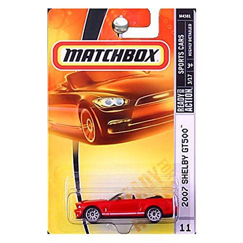Gt500 Shelby 2007 Ford (Matchbox Sports Cars 2007 Ford Mustang Shelby GT500 GT-500 Convertible Red #11)