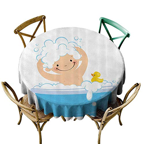 StarsART Party Table Cloth Nursery Decor Collection,Baby Boy with Smiley Face Having Bubble Bath in Bathtub with Rubber Duck Kids Decor Art,White Blue D54,for Kitchen