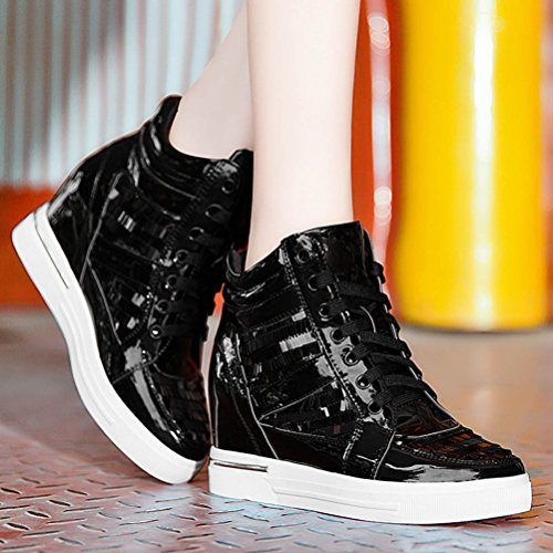 DUNHU Women Fashion Flat Sneaker Ankle High Walking Shoe (Silver/Black) Black Ev0FikZt