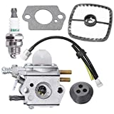 Carburetor C1U-K29 C1U-K47 C1U-K52 For Echo PE2000 SRM2100 SRM2110 SHC1700 SHC2100 PP1200 PP800 PPF2100 PPF2110 PPSR2122 PPT2100 with Repower Maintenance Kit Spark Plug For Power Pruner Trimmer