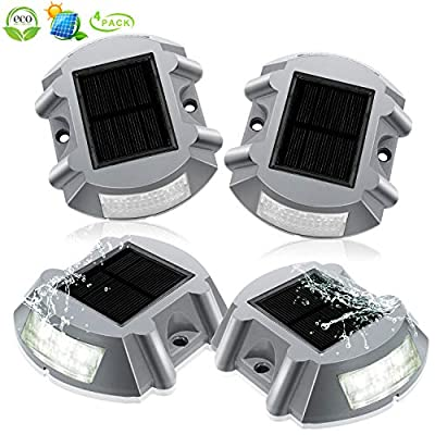Deck Lights Solar Powered Dock Lighting Outdoor Waterproof Deck Post Solar Driveway Lights 6 LED Solar Step Lights Outdoor Decorative For Patio Pathway Garden Walkway Stairs Low Voltage?4 Pack White?