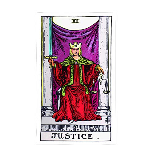 - Tina Silvergray 36x60 Inches Vintage Style Colored Tarot Devination Theme Wall Hanging Tapestry (No. 11 - Justice)