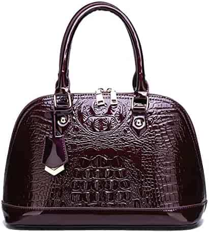 cef1f2ed604 Yan Show Women s Patent Leather Totes Elegant Handbag Crocodile Pattern Top  Handle Purse Shell Bag