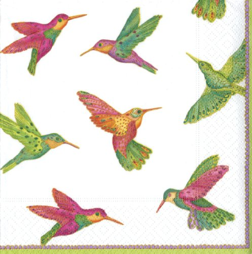 Caspari Entertaining 20-Pack Hummingbirds Luncheon Napkins by Caspari