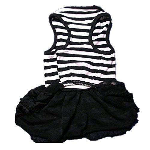 Binmer(TM)Cute Dog Clothes Pet Dog Costume Stripe T-shirt Skirt Puppy Princess Dress Dog Apparel (Black, S)