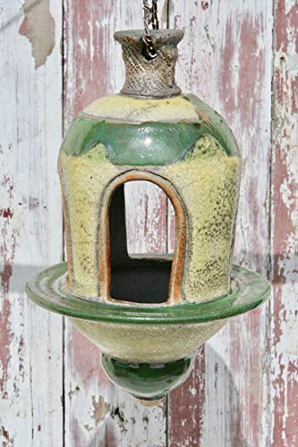 Large Sunflower Yellow and Green Bird feeder #22, Decorative Ceramic Garden Lantern, Uniquely Handmade Upscale Patio - Garden Sunflower Lantern
