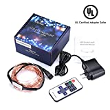 Cymas LED String Lights, 33ft 100 LED Waterproof Decorative Lights Dimmable with Remote Control for Indoor and Outdoor, Bedroom, Patio, Garden, Wedding, Parties, UL Listed (Warm White)