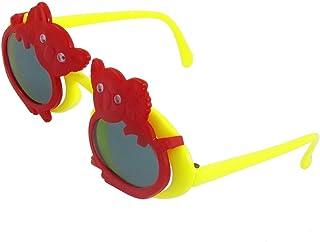 Koala Accent 2 couches Jaune Bras en plastique ovale objectif Flip Up Sunglasses pour Kid