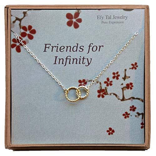 - EFYTAL Infinity Necklace, Two Tone Interlocking Circles in Sterling Silver and Gold Filled, Bridesmaid Gift