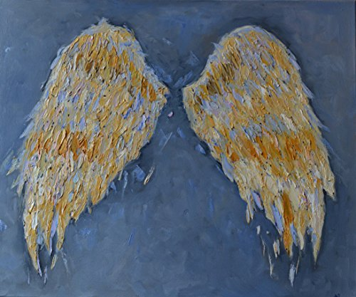 Angel Wings for Nursery Gift Girls Painting Gold Grey Gray Art CANVAS Artwork Wall Decor Textured Gold Living Room Bedroom Christmas Original Oil 19x23 by SmartPolonia