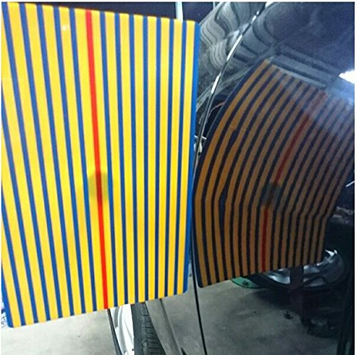Super PDR Car Dent Kits Stripe Line Board Paintless Dent Removal Repair Tool with Ajustment Holder Yellow ()