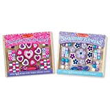 Melissa & Doug Hearts and Flowers Wooden Bead Set of 2 With 90+ Beads for Jewelry-Making
