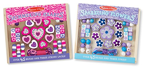 Melissa & Doug Hearts and Flowers Wooden Bead Set of 2 With 90+ Beads for Jewelry-Making ()