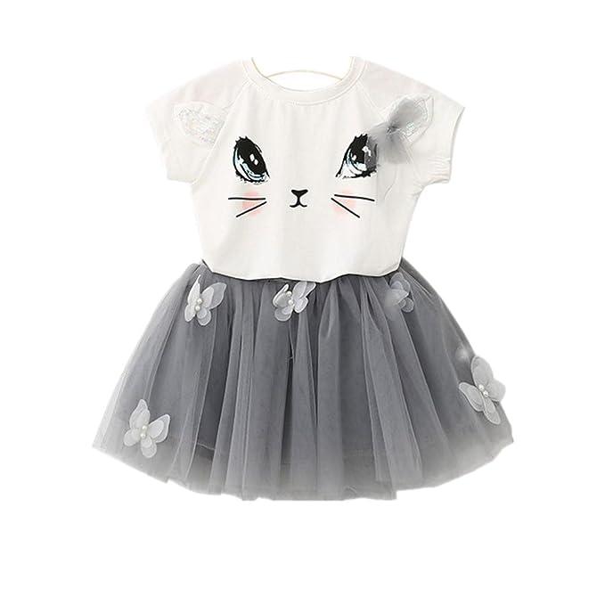 Culater® Bambini Ragazze modello Cat shirt Top farfalla Tutu Skirt Set  abbigliamento  Amazon.it  Abbigliamento 82660afa6cd