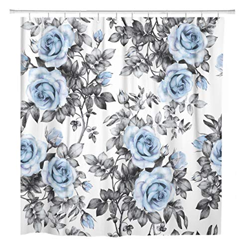 ArtSocket Shower Curtain Blue Flowers and Leaves Watercolor Floral Pattern Rose Home Bathroom Decor Polyester Fabric Waterproof 72 x 78 Inches Set with Hooks