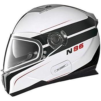 Nolan N-86 Rapid N-Com Helmet, Distinct Name: Metallic White/Black, Gender: Mens/Unisex, Helmet Category: Street, Helmet Type: Full-face Helmets, Primary Color: Black, Size: XS N8R5273330247