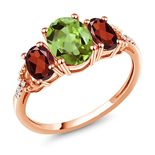 2.37 Ct Oval Green Peridot Red Garnet 10K Rose Gold Diamond Accent Ring -