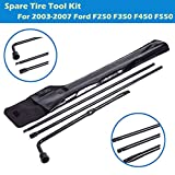 Spare Tire Tool Set Fits Ford F250 F350 F450 F550 Super Duty Pickup Truck Extension Lug Wrench Tools Replacement Kit
