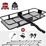 """KING BIRD Upgraded 550LBS Capacity 60"""" x 24"""" x 6"""" Hitch Mount Folding Cargo Carrier Fits to 2'' Receiver,Heavy Duty Cargo Basket with Trailer Hitch Lock,Hitch Stabilizer,Net and Straps"""