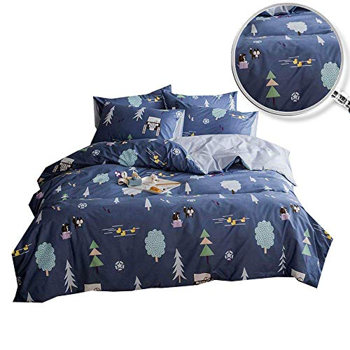 Enjoylife Reversible 3 Pieces Forest Duvet Cover Cartoon Animal Print Bedding Set 100% Cotton Quilt Cover Twin Size for Boys/Girls