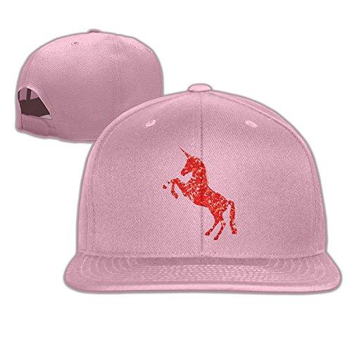 Aiguan Red Unicorn Flat Visor Baseball Cap Classic Snapback Hat - 8 Colors