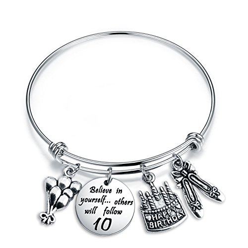 ENSIANTH Birthday Gift for Her Adjustable Birthday Bracelet Bangle with Birthday Cake Charm,12th Sweet 16th 18th 21st 30th 39th 40th Bangle Gift, (10th Birthday)