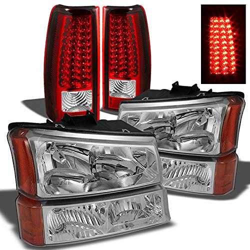 Xtune for 2003-2006 Chevy Silverado Headlights + Bumper + Red Clear LED Tail Lights 2004 2005 ()
