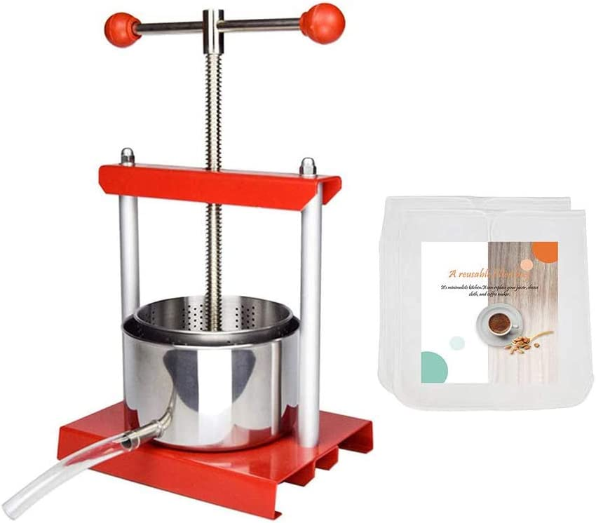 Fruit Wine Press with filter bag - Fruit Wine Press with filter bag - 100% Natural Juice Making for Apple/Carrot/Orange/Berry/Vegetables,Food-Grade Stainless Steel Cheese&Tincture&Herbal Press