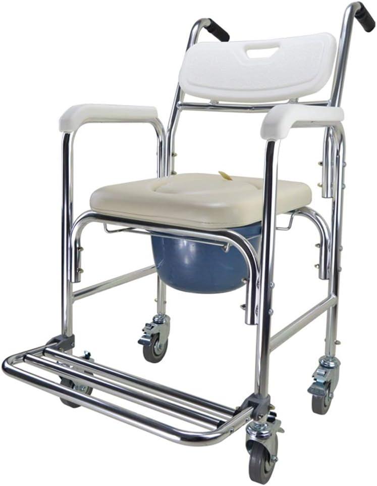 Homecraft Ocean Wheeled Shower Commode Chair, asiento de ducha acolchado con ruedas y inodoro incorporado, silla de ducha e inodoro, taburete de baño for el baño, personas mayores, discapacitados y mo