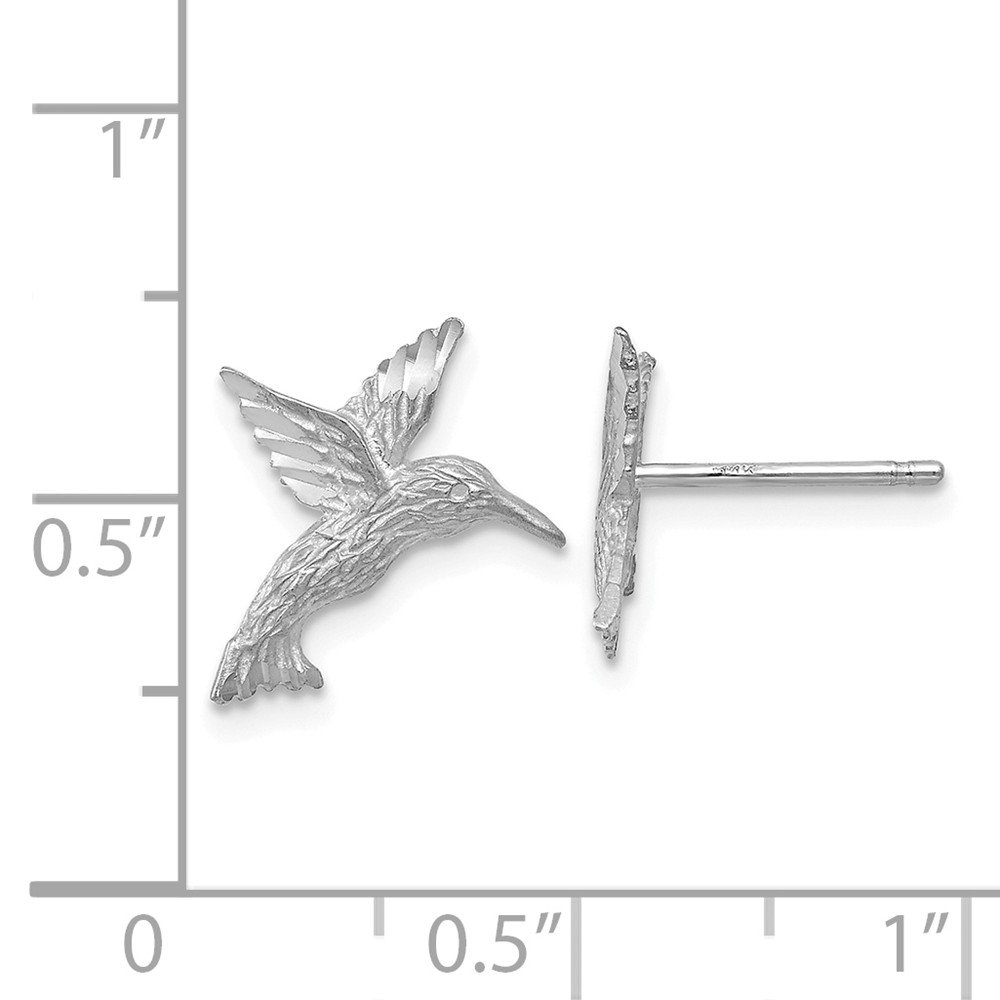 Real 14kt White Gold Hummingbird Earrings