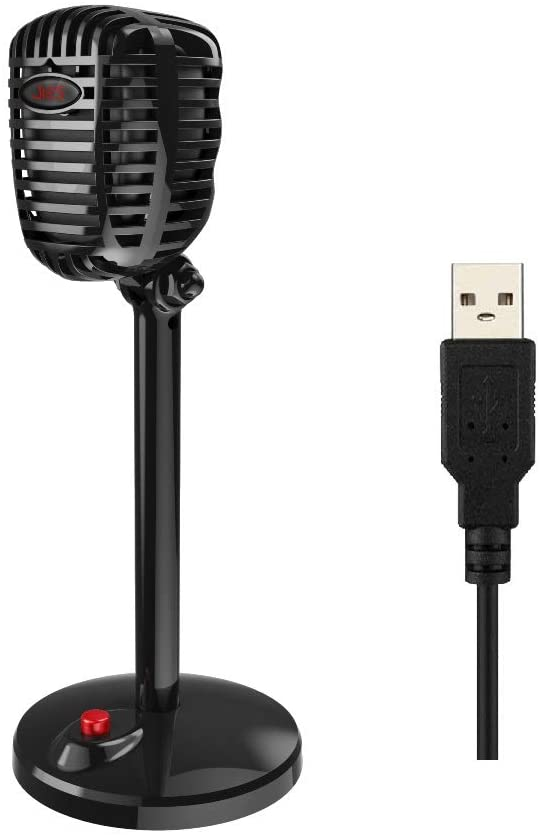 Granvela Retro Style USB Computer Microphone with Stand for Windows PC/Laptop and MacBook. Ideal for Conference Call,On-line Class,Chatting,Live Streaming and More.