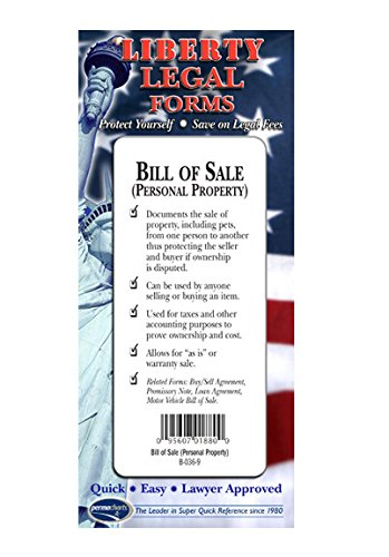 Amazoncom Bill Of Sale Forms Personal Property USA Doit - Bill of sale legal document