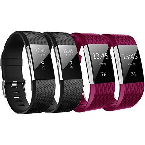 BEPACK Band Compatible with Fitbit Charge 2, 4-Packs Silicone Classic Sport Soft TPU Durable Adjustable Accessories Replacement Heart Rate Fitness Wristband for Girls Boy Men Women