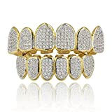 xcoser Hip Hop Golden Silver Ring Hot Sets Diamond Set Vampire Teeth Grillz Accessory Music