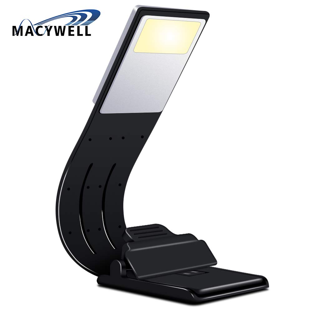 Macywell Book Light Bookmark Warm LED Reading,Adjustable 4-Level Soft Light Eyes USB Charge Perfect for Avid Readers