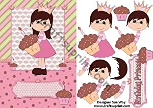 Para cupcakes, diseño de princesas (luz piel) tarjeta parte delantera y Decoupage por Sue manera