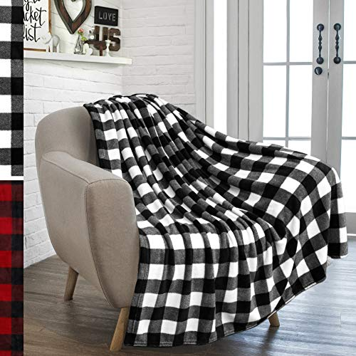 (PAVILIA Flannel Fleece Throw Blanket for Sofa Couch | Super Soft Velvet Plaid Pattern Checkered Decorative Throw | Warm Cozy Lightweight Microfiber | 50 x 60 Inches Plaid White/Black)