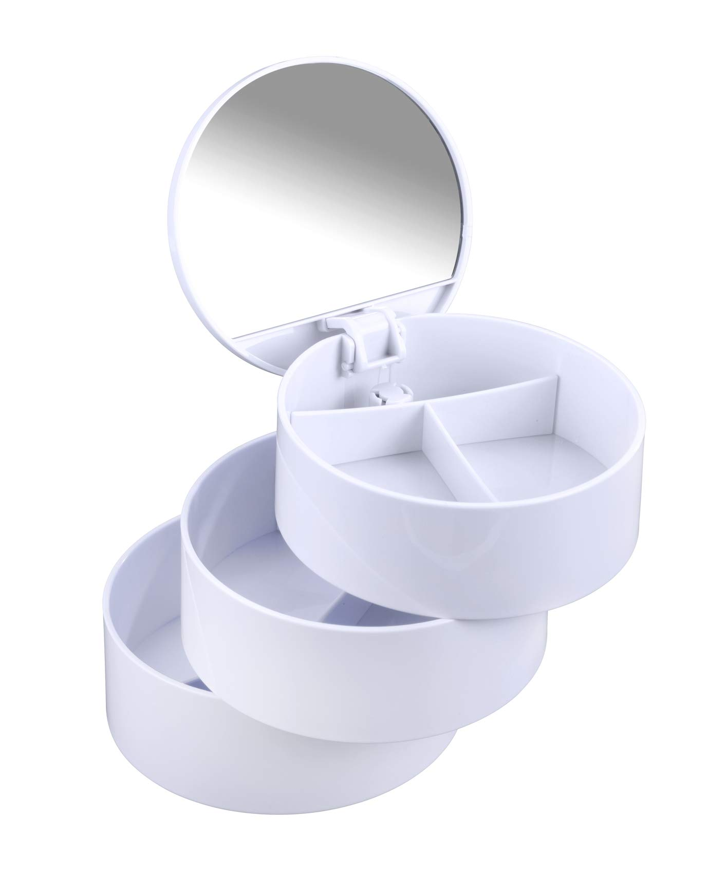 WENKO Cosmetic-Tower with 3 Compartments/Mirror, White