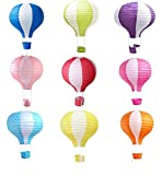 Matissa Pack of 9 Hot Air Balloon Paper Lantern Wedding Party Decoration Craft Lamp Shade (14'' (35cm))